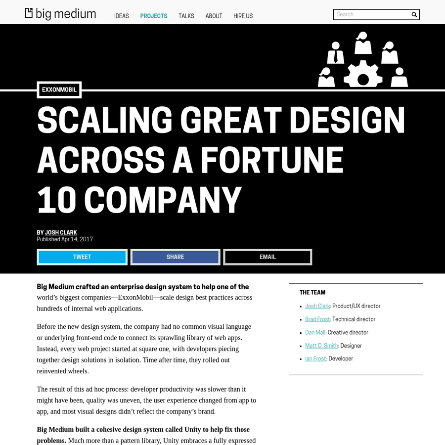 Big Medium crafted an enterprise design system to help one of the world's biggest companies-ExxonMobil-scale design best practices across hundreds of internal web applications. Before the new design system, the company had no common visual language or underlying front-end code to connect its sprawling library of web apps.