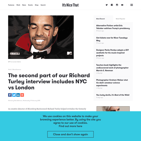 As creative director of _Bloomberg Businessweek_ Richard Turley helped revitalise the formerly staid title with his eye-catching covers and open-minded approach to lay-outs. When he moved to MTV last year many in the magazine world were sad (and surprised) to see him leave print behind.