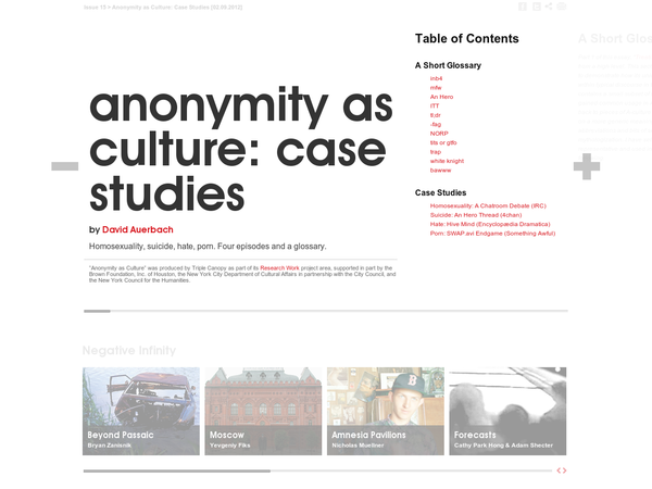Anonymity as Culture: Case Studies - Triple Canopy