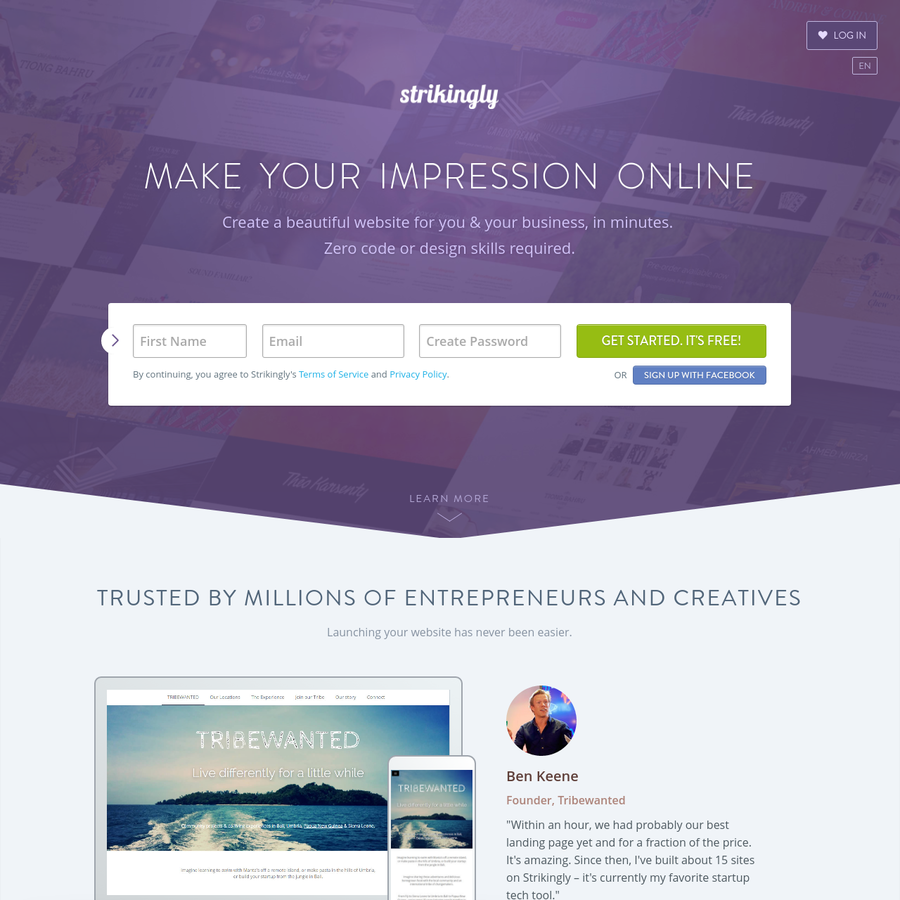 Strikingly is the best website builder for anyone to build a gorgeous, mobile-friendly website easily. Quick, simple and stylish. Get started today.