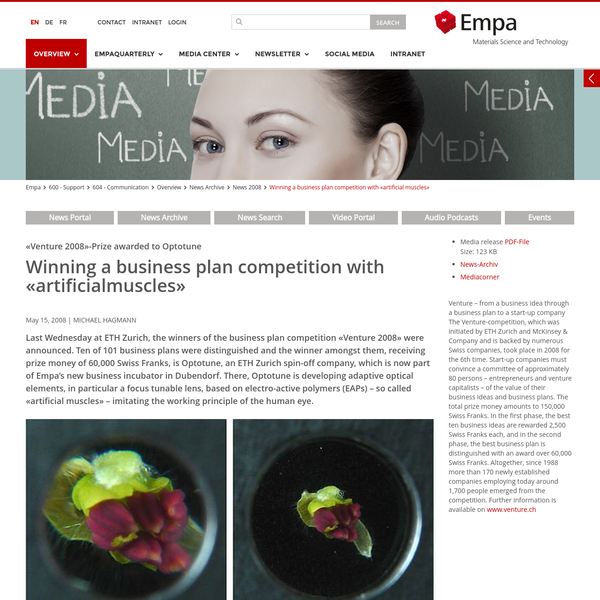 "Empa - 604 - Communication - Winning a business plan competition with ""artificial muscles"""