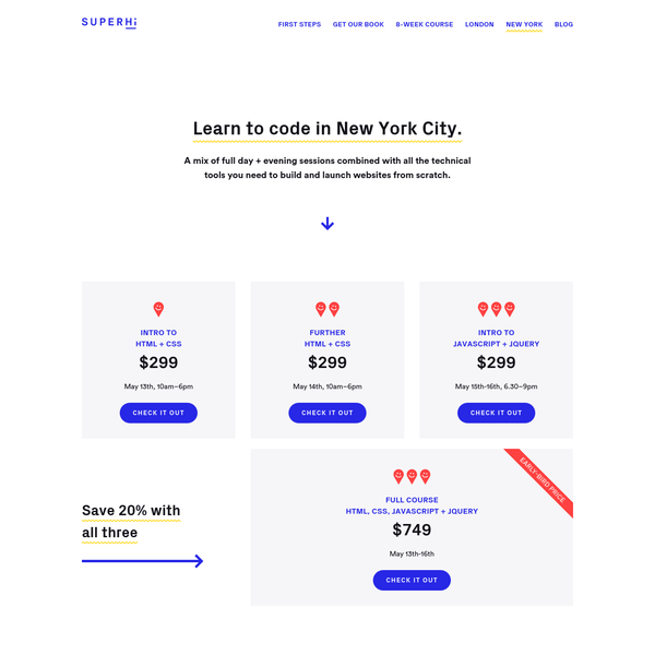 New York City coding courses at SuperHi - HTML, CSS and Javascript