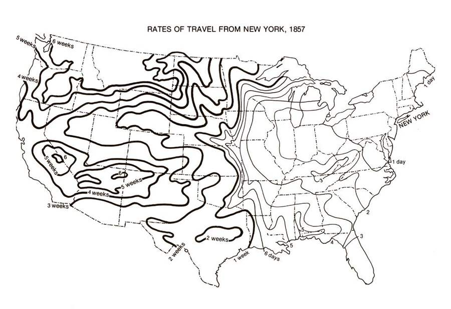 Isotemporal map of rates of railroad travel from New York, 1857. From Alfred Chandler, Jr., The Visible Hand: The Managerial Revolution in American Business (1977).