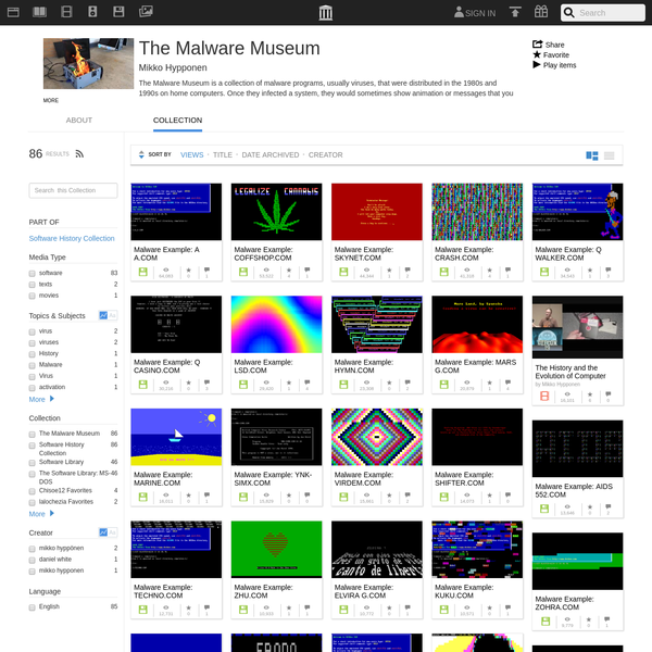 The Malware Museum is a collection of malware programs, usually viruses, that were distributed in the 1980s and 1990s on home computers. Once they infected a system, they would sometimes show animation or messages that you had been infected. Through the use of emulations, and additionally removing...