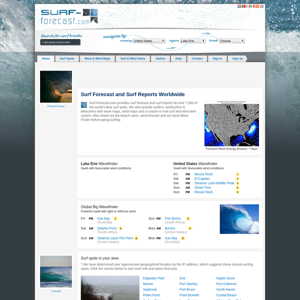 Surf forecasts and surf reports for over 7,000 of the world's best surf spots. Check the beach cams, wind forecast and our free Wave Finder before going surfing.