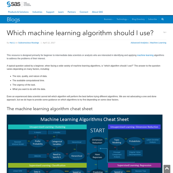 Which machine learning algorithm should I use?