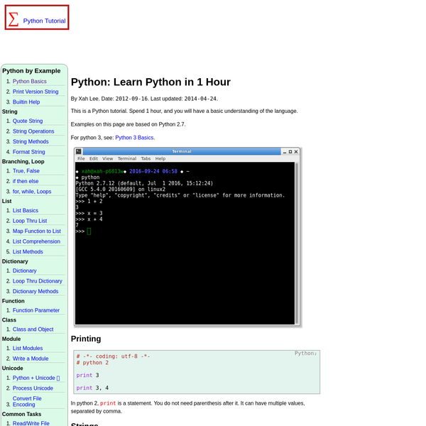 Python: Learn Python in 1 Hour