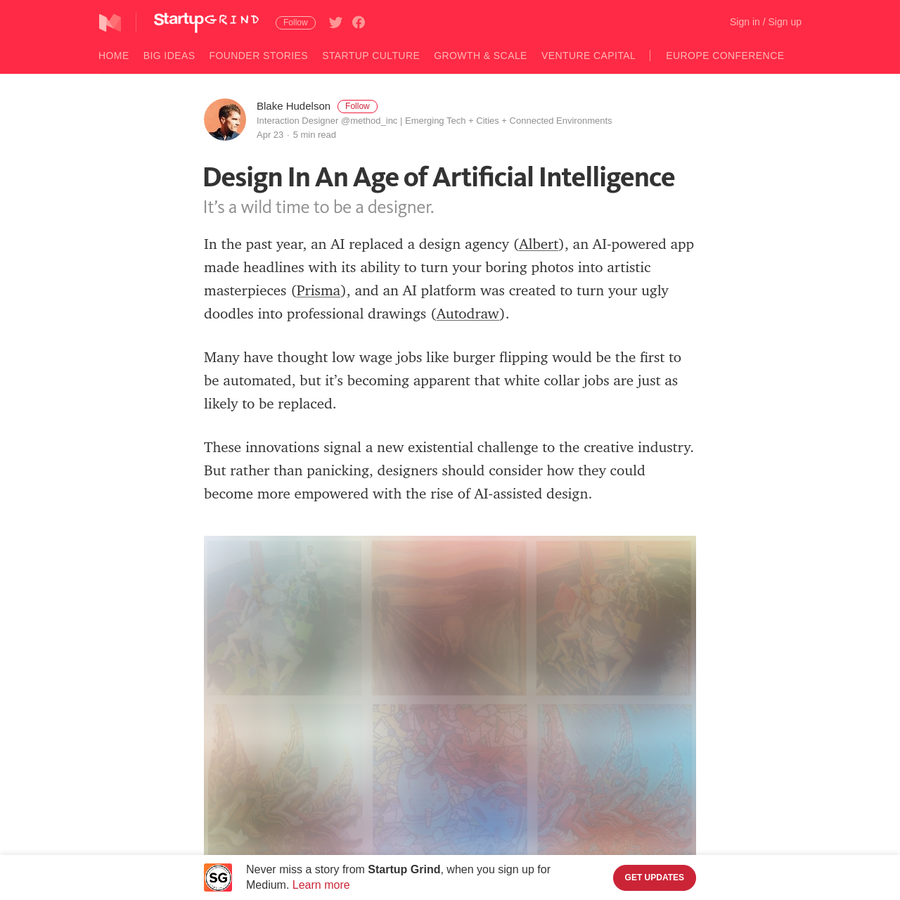 In the past year, an AI replaced a design agency ( Albert), an AI-powered app made headlines with its ability to turn your boring photos into artistic masterpieces ( Prisma), and an AI platform was created to turn your ugly doodles into professional drawings ( Autodraw).