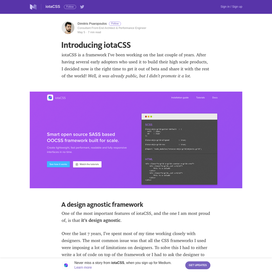 iotaCSS is a framework I've been working on the last couple of years. After having several early adopters who used it to build their high scale products, I decided now is the right time to get it out of beta and share it with the rest of the world!