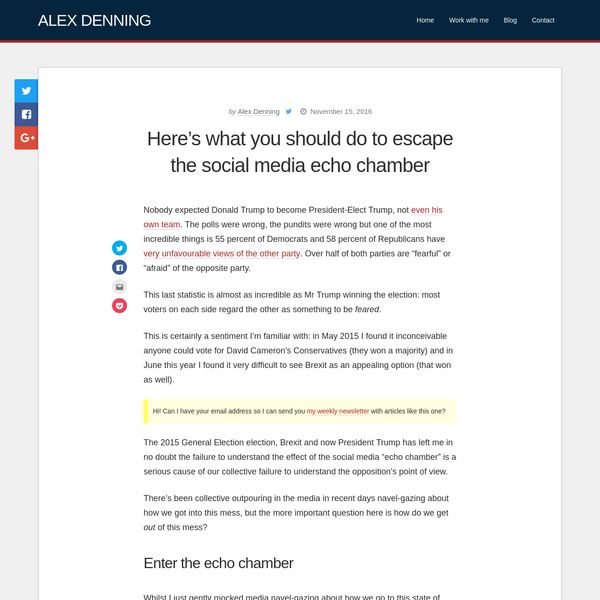 Here's what you should do to escape the social media echo chamber | Alex Denning