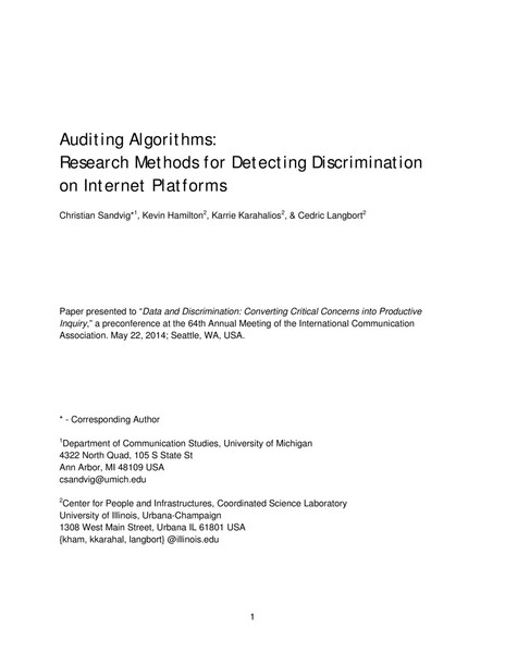 Auditing Algorithms: Research Methods for Detecting Discrimination on Internet Platforms