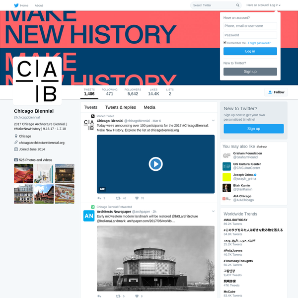 The latest Tweets from Chicago Biennial (@chicagobiennial). 2017 Chicago Architecture Biennial | #MakeNewHistory | 9.16.17 - 1.7.18. Chicago