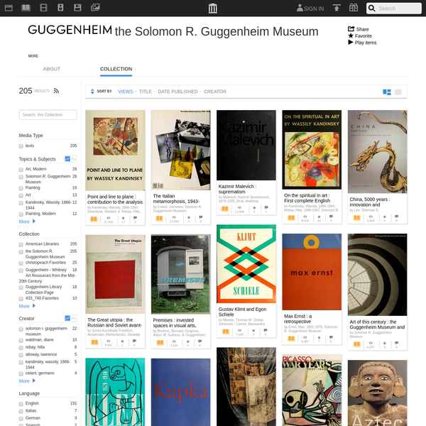 As a vital part of the Solomon R. Guggenheim Foundation's mission as an educational institution, the Guggenheim Museum's Publications Department publishes books and catalogues to document its exhibitions and collections.