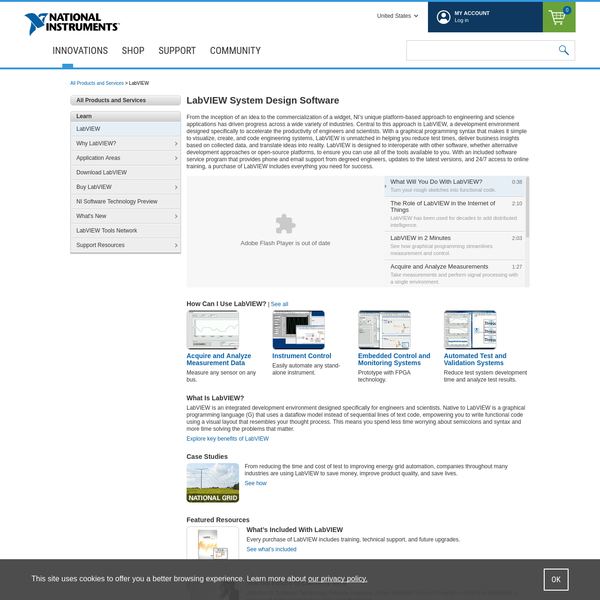 LabVIEW is system design software that makes scientists and engineers more productive. View this page for technical product information, evaluation resources, and purchasing options.