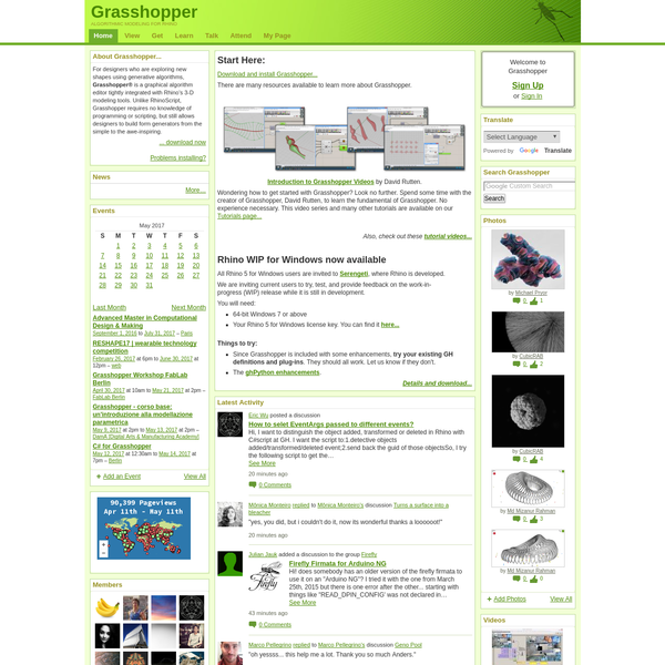 Grasshopper™ is a graphical algorithm editor tightly integrated with Rhino's 3-D modeling tools.
