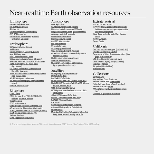 Planet parts: Global data streams