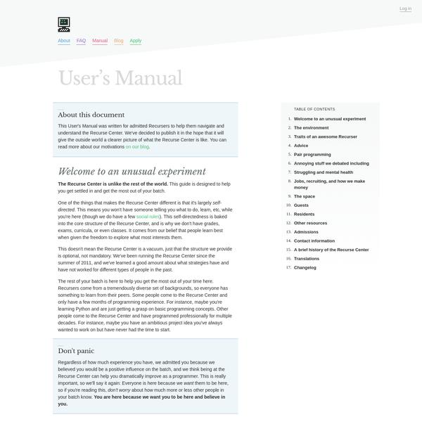 The Recurse Center User's Manual - Recurse Center