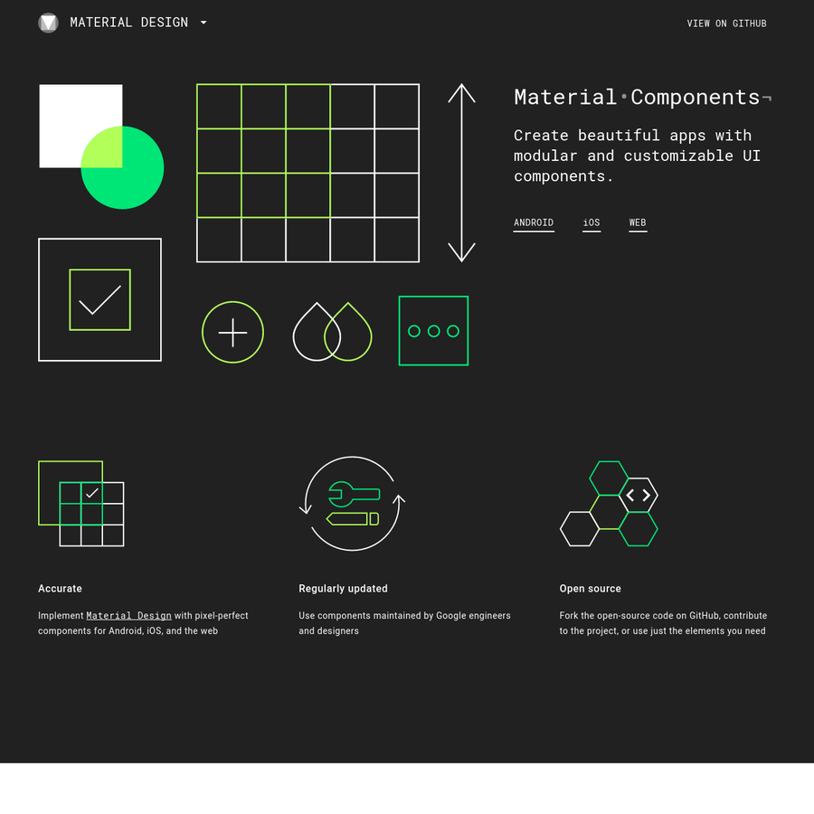 Material Components are a set of user interface components that help developers build web, Android and iOS apps with Material Design.