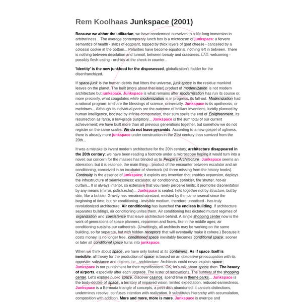Rem Koolhaas | Junkspace (2001)
