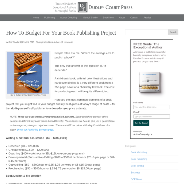 How to Budget for Your Book Publishing Project - Dudley Court Press