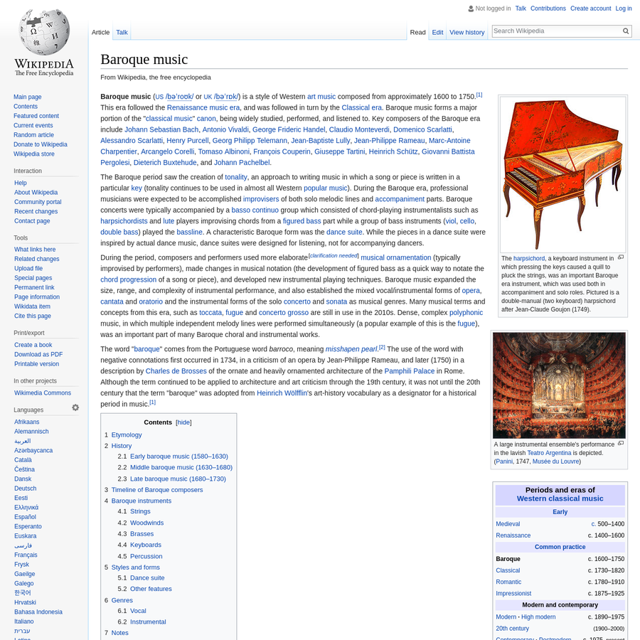 """Baroque music ( or ) is a style of Western art music composed from approximately 1600 to 1750. This era followed the Renaissance music era, and was followed in turn by the Classical era. Baroque music forms a major portion of the """" classical music"""" canon, being widely studied, performed, and listened to."""