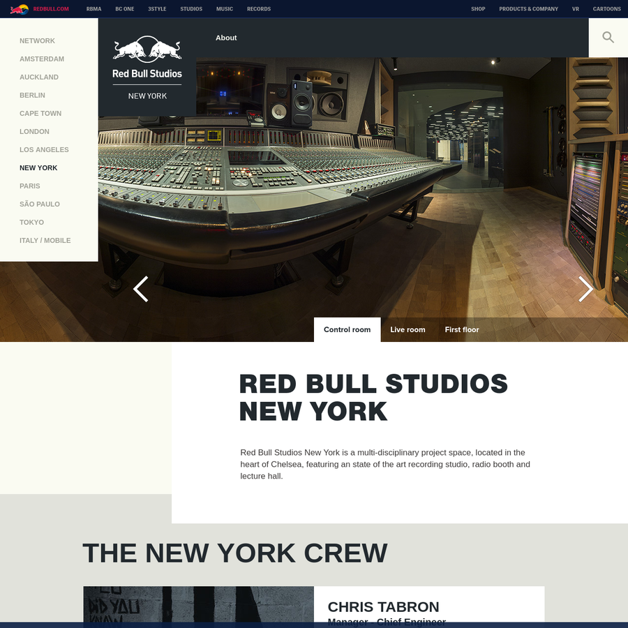 Red Bull Studios New York is a multi-disciplinary project space, located in the heart of Chelsea, featuring an state of the art recording studio, radio booth and lecture hall.