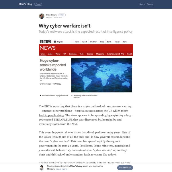 Why cyber warfare isn't - Mike's blog