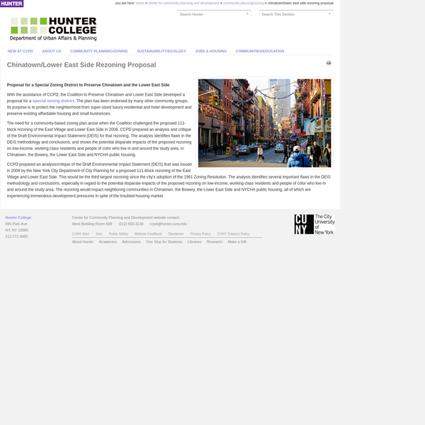 Chinatown/Lower East Side Rezoning Proposal - Hunter College