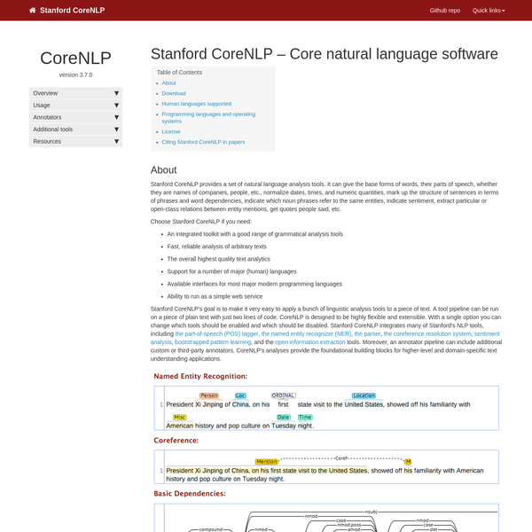 Stanford CoreNLP - Core natural language software | Stanford CoreNLP