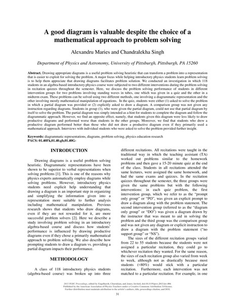 Alexandru Maries & Chandralekha Singh | A good diagram is valuable despite the choice of a mathematical approach to problem solving