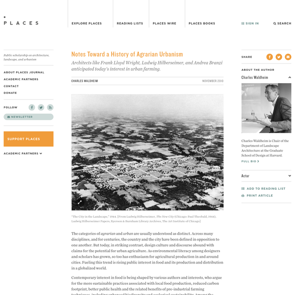 Notes Toward a History of Agrarian Urbanism