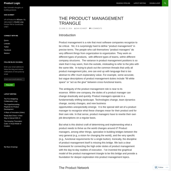 "Introduction Product management is a role that most software companies recognize to be critical. Yet, it is surprisingly hard to define ""product management"" in precise terms. The people who call themselves ""product managers"" do very different things from organization to organization. They work on different types of products, with different types of teams, within different company structures."