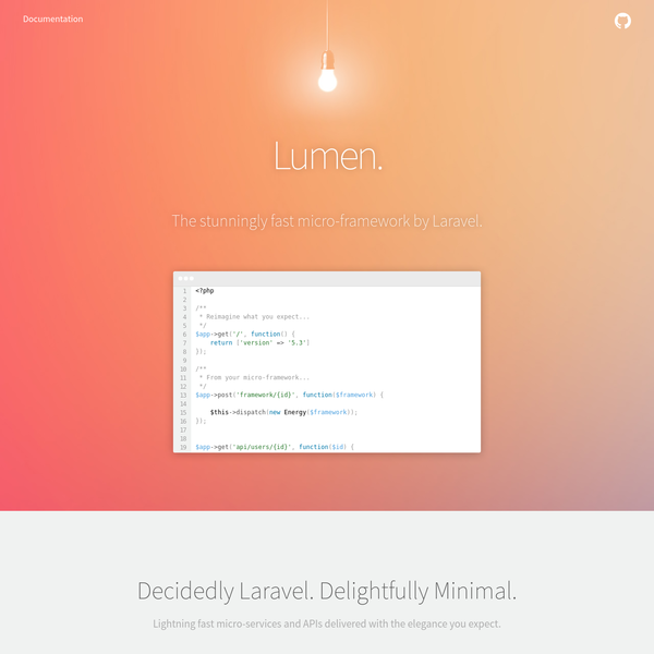 Lumen - The Stunningly Fast PHP Micro-Framework By Laravel