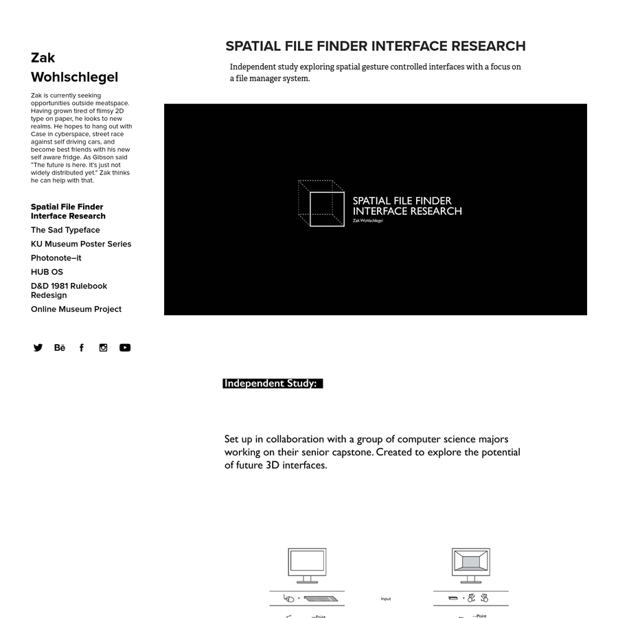 Independent study exploring spatial gesture controlled interfaces with a focus on a file manager system.