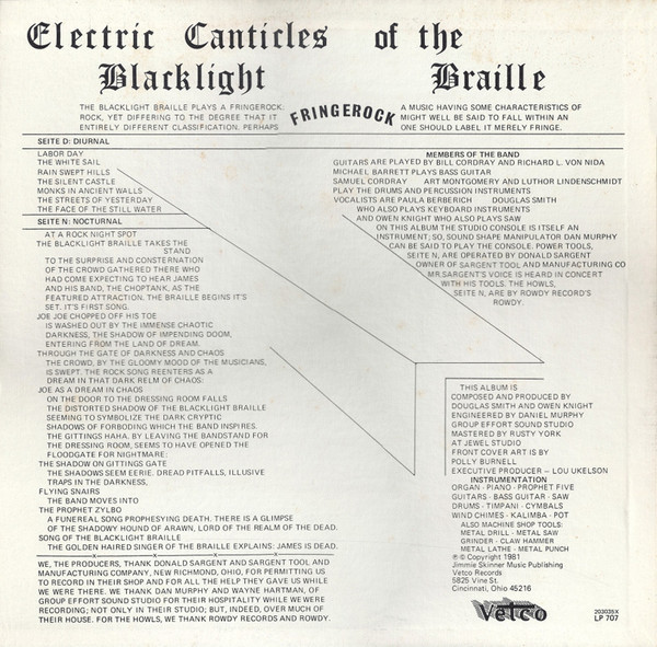 Blacklight Braille ‎– Electric Canticles Of The Blacklight Braille