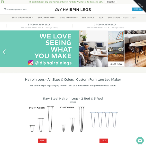 """Hairpin Legs: 6"""" - 40"""" height 