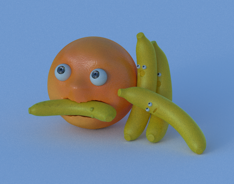 made tracking eye rig on all fruit built banana bruise shader later developed into time based human bruising shader