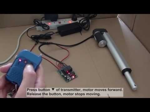 The video shows how to control the ac power linear actuator motor using ordinary 2-channel rf remote transmitter & receiver. It works with momentary and latched contro modes. If you want to find the trasmitter receiver kit, please visit http://www.rfcontrolsystem.com