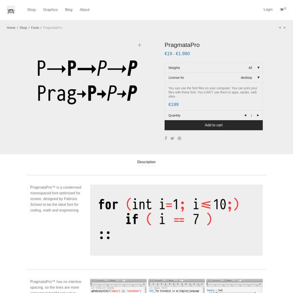 PragmataPro coding font designed by Fabrizio Schiavi