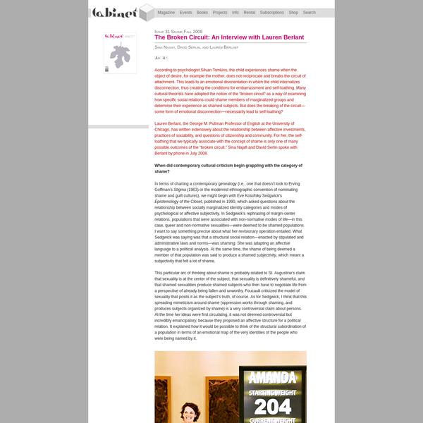 CABINET // The Broken Circuit: An Interview with Lauren Berlant