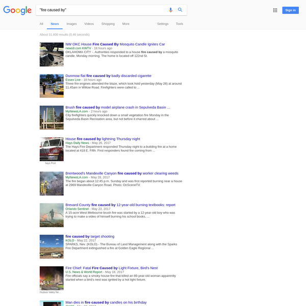 """fire caused by"" - Google News Search"