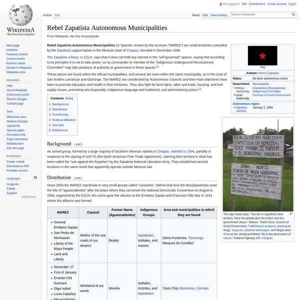 Rebel Zapatista Autonomous Municipalities - Wikipedia