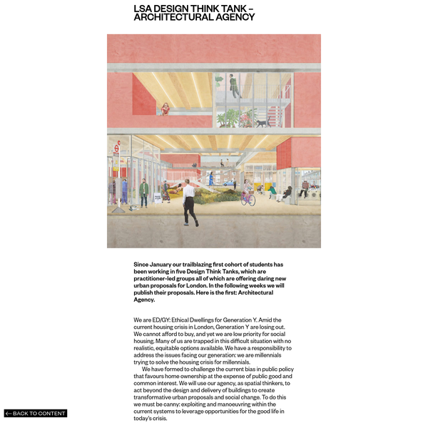 LSA Design Think Tank - Architectural Agency - The London School of Architecture