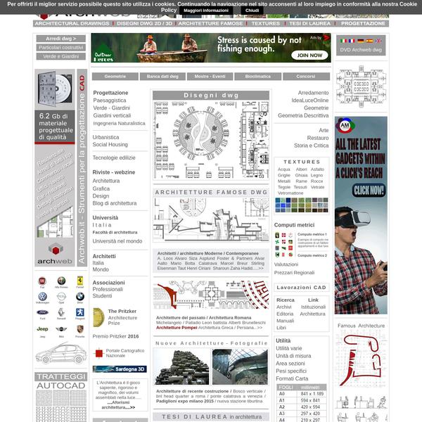 Archweb.it - contenitore di strumenti per l'architettura, disegni e progetti in dwg, tecnologia e dettagli, geometrie, textures, tutto per studenti e professionisti