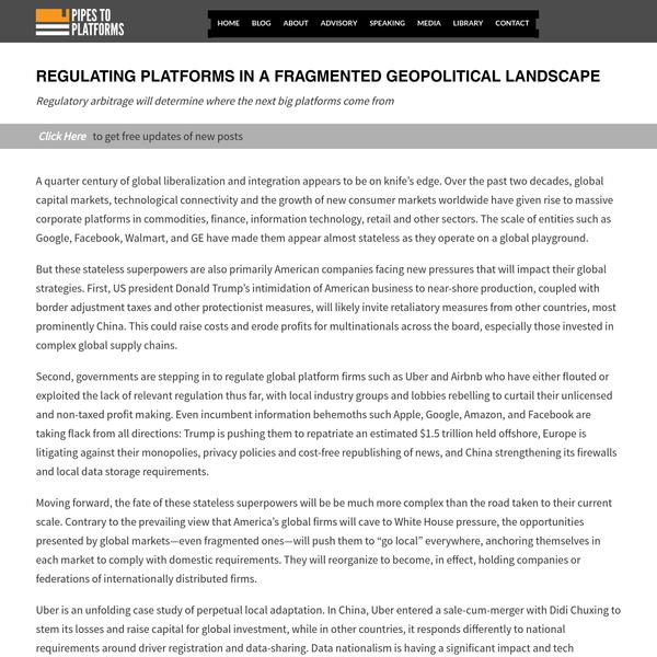 Regulating platforms in a fragmented geopolitical landscape