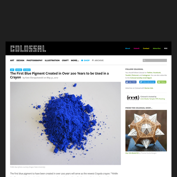 """The first blue pigment to have been created in over 200 years will serve as the newest Crayola crayon. """"YlnMn blue"""" was not developed within an arts context, but rather accidentally discovered in in an Oregon State University (OSU) chemistry lab in 2009. Graduate student Andrew Smith made the discov"""