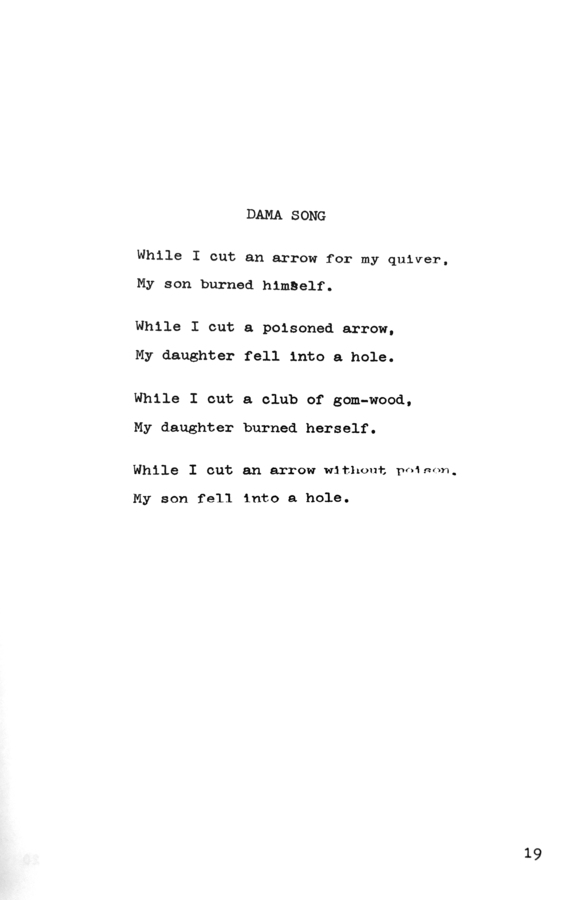 """""""Dama Song,"""" [n.d.] _0 to 9 Number 2_ (New York, 1967), p. 19."""