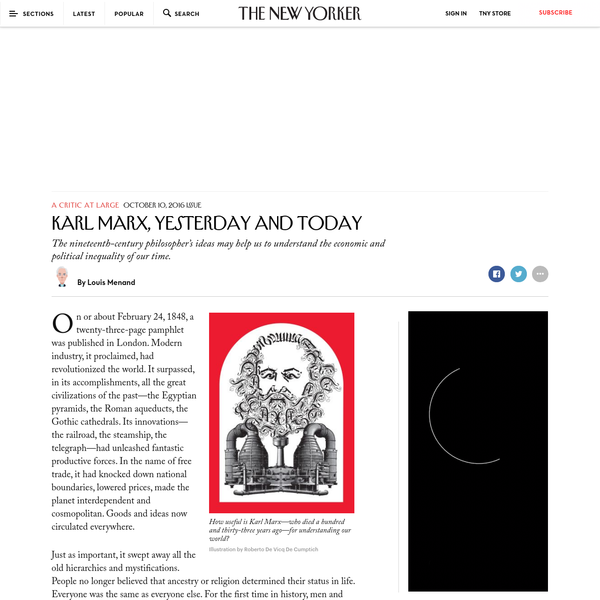 Karl Marx, Yesterday and Today