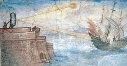 "Fresco (ca. 1599-1600) in Uffizi Gallery, Florence, by Giulio Parigi showing Archimedes' ""death ray"""
