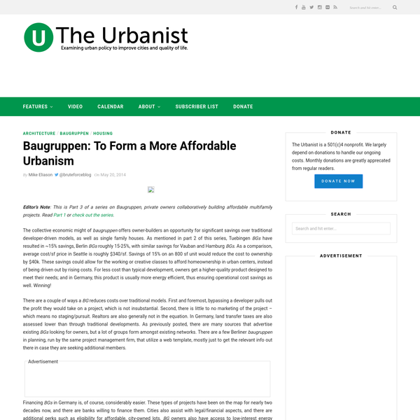 "Baugruppen: To Form a More Affordable Urbanism "" The Urbanist"